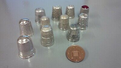 11 x thimbles 6 x silver hallmarked,1x 800 silver,1x sterling silver stamped.