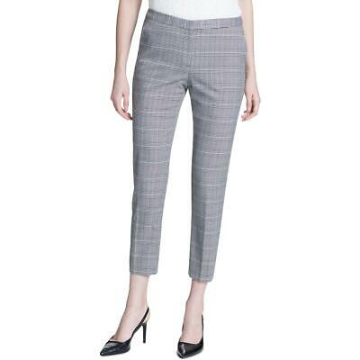 Calvin Klein Womens B/W Glen Plaid Straight Leg Ankle Pants 14 BHFO 9015