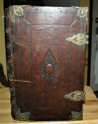 "1718 DUTCH antique Holy Bible **15 7/16"" tall **  BRASS HARDWARE **MAPS**"