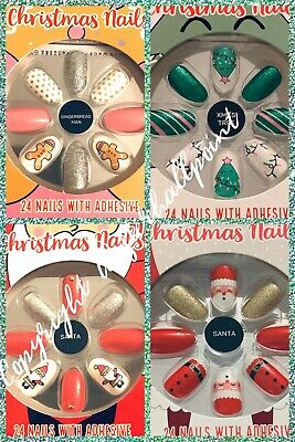 BNWT PRIMARK False Nails - Christmas 2019 DESIGNS 24 Nails with Adhesive Glue