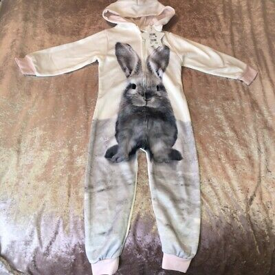 Next NEW Girls Bunny Rabbit Winter Hooded All in one Zip Pajamas Winter Soft 4