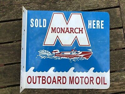Monarch Outboard Boat Motor Oil 2-Sided Metal Advertising Flange Sign