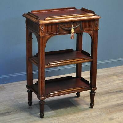 Antique Victorian Carved Mahogany 3-tier Occasional Etagere Whatnot Shelves