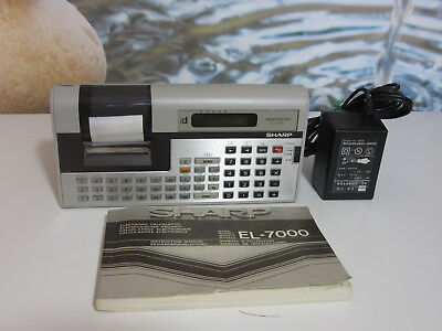 Sharp El-7000 Vintage Electronic Calculator Memowriter. Power Supply + Manual.