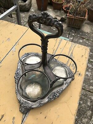 Superb Ornate Victorian Silver Plate 3 Bottle Stand / Holder