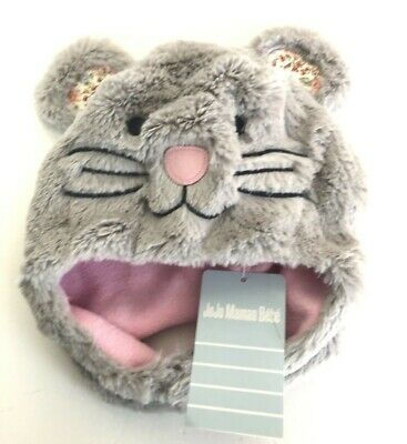 JoJo Maman Mouse Hat Age 1-2 years Faux Fur Grey Cosy Cute Fleece Lined NEW