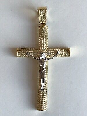 14k gold   Jesus Religious CROSS Pendant for  chain VERY NICE SOLID GOLD!!