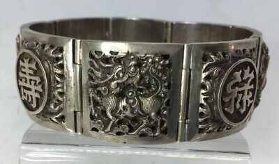 Antique Sterling Silver Chinese Panel Link Bracelet