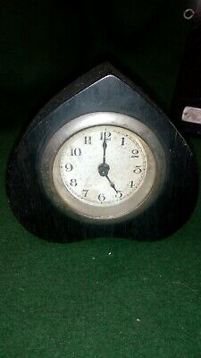 Small Vintage Ebony cased Wooden Wind Up Mantel Clock - for parts / restoration