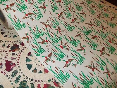 Vtg Christmas Store Wrapping Paper 2 Yards Gift Wrap Duck Hunting Waterfowl
