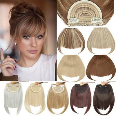 Natural Thin Fringe Bangs False Fake Hair Extension Clip In Front Hairpieces AU