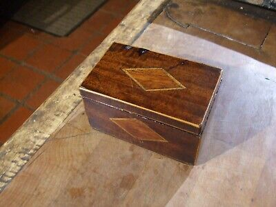 """SMALL ANTIQUE INLAID BOX lovely patina  measures 4"""" x 2.5"""" x 2.25"""" high"""