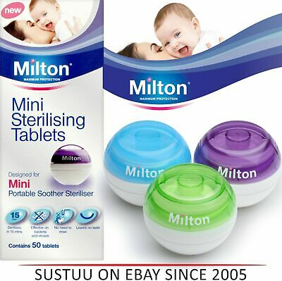 Milton Mini Portable Soother Pacifier Watertight Steriliser 50 Tablets