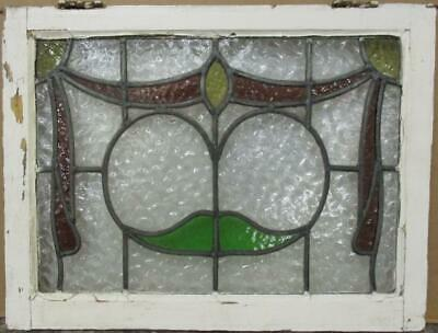 "MIDSIZE OLD ENGLISH LEADED STAINED GLASS WINDOW Pretty Swag Design 25"" x 19"""