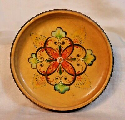 Vintage Norwegian Rosemaling Ale Wooden Bowl Hand Painted Folk Art