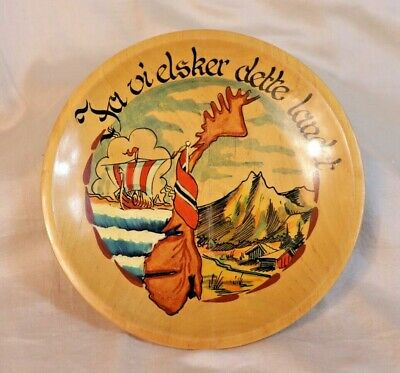 Vintage Norwegian Wooden Plate with the Norwegian National Anthem
