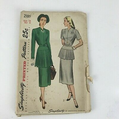 Vtg 1940s Simplicity 2185 Dress Pleated Skirt Sewing Pattern Size 14 UNCUT