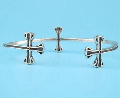 Unique Chinese 925 Silver Hand-Carved Cross Bracelet Spiritual Gift Collec Old