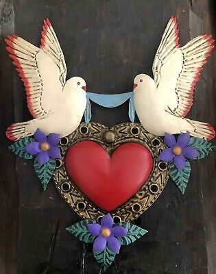 """Punched TIN HEART with DOVES Mexican Folk Art LG 17""""W PURPLE Flowers Palomas"""