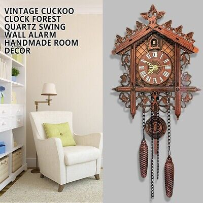 Classic Vintage Cuckoo Clock Forest Quartz Swing Wall Alarm Handmade Room DIY