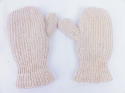 Hand Made Knit Mittens Womans Large Cream Color Double Layered