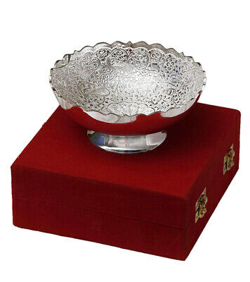Silver Plated Peacock Carving Brass Bowl With Box Indian Home Decor Bowls