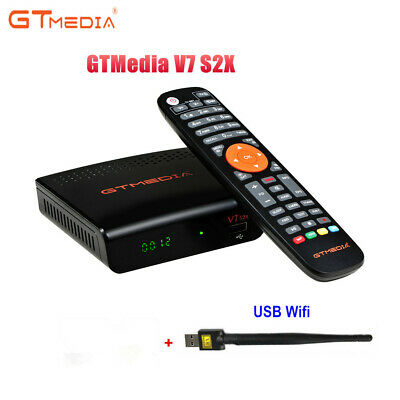 GTMEDIA V7S HD Full 1080P DVB-S2 Digital TV Receiver PowerVu +AV Cable+USB WiFi