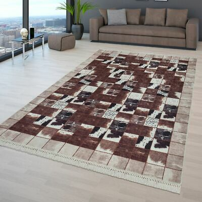 TAPIS PATCHWORK SALON Marron Blanc Taches De Vache Patchwork ...
