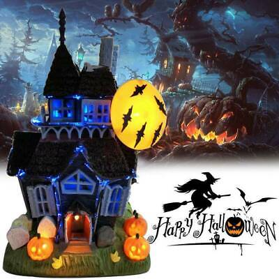 Halloween Ceramic Painted Haunted House Castle With Friendly Ghosts Brothers New