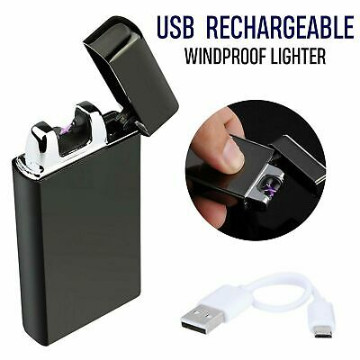 USB Rechargeable Electric Windproof Double Arc Flameless Cigarette Lighter