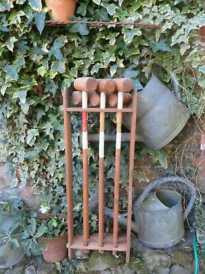 FABULOUS VTG.FRENCH WOODEN CROQUET SET WITH STAND ~ ORIGINAL OLD PAINT~ 1940's