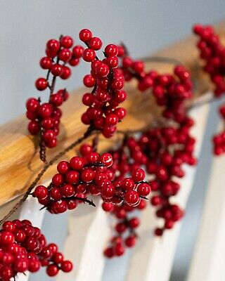Faux Winter Red Berry Christmas Garland Decoration Xmas Indoor Outdoor Artificia