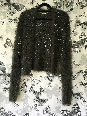 Size L Next Charcoal Grey Very Soft Fluffy Long Sleeve Cardigan With Sequins