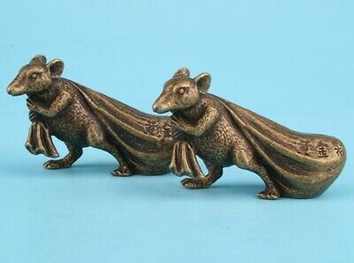 2 Rare Chinese Bronze Hand-Carved Mouse Statue Figurine Old Collection