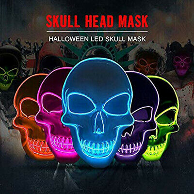 Neon Skull Mask LED Wire Light Up Party Purge Halloween Cosplay Glow In Dark UK