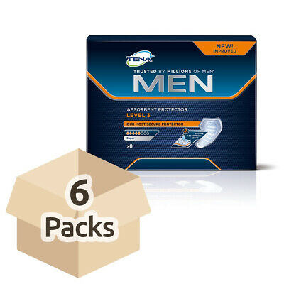 6x TENA Men Absorbent Protector For Men - Level 3 - Pack of 8 - 300ml