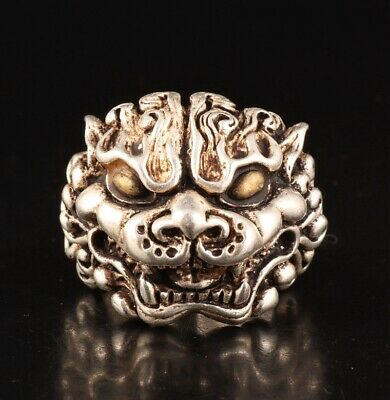 Retro Chinese Tibetan Silver Hand-Carved Dragon Head Ring Gift Old