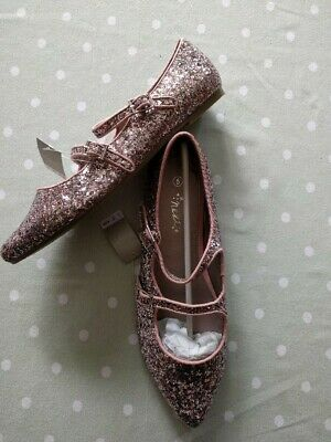 Next Girls Grey Pink Glitter Pointed Mary Jane Shoes UK 5 38 BNWT!!