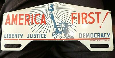 1920's Harding America First License Plate Topper Liberty Justice Democracy