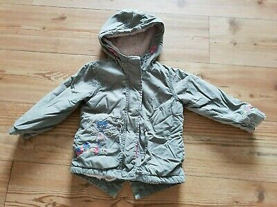 Girls khaki green faux fur lined coat parka NEXT 2-3 years