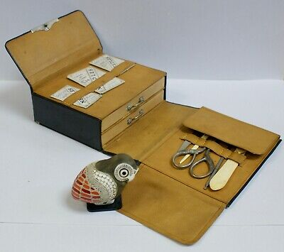 Rare Antique Leather Army & Navy Fold-Out Sewing Case With Drawers & Contents