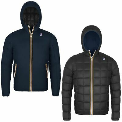 K-WAY JACQUES THERMO PLUS Double Giubbotto PIUMINO Reversibile BLU NERO Inverno