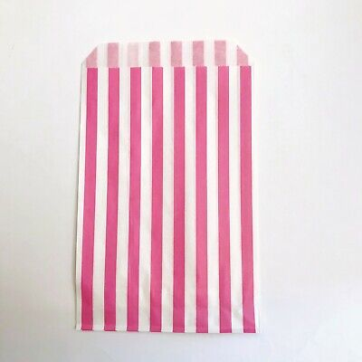 100 Pink Candy Stripe Sweet Paper Bags for Party Gift Pick n Mix