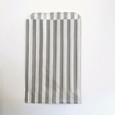 100 Grey Candy Stripe Sweet Paper Bags for Party Gift Pick n Mix