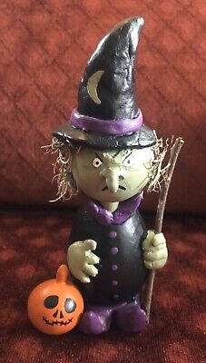Handmade Primitive Witch Gourd Doll, Halloween Witch with Pumpkin