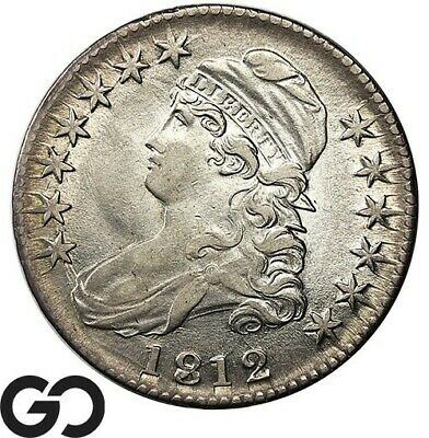 1812 Capped Bust Half Dollar, Some Mint Luster, Nice Choice AU++ Tougher Date