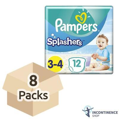 Pampers Splashers - Disposable Swim Pants - Size 3/4 (6-11kg) - Case - 8 Packs