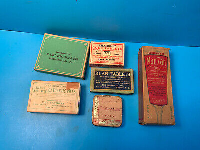 Vtg Drug Store Pharmacy Lot Laxative,Cold Tablets,Cathartic Pills, Ointment
