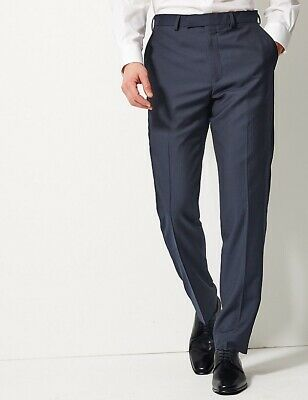 £119 M/&S SAVILE ROW Alfred Brown Tailored Fit PURE WOOL Trousers W-38-L-31 Blue