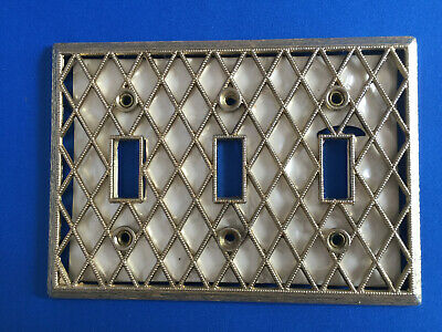 Vintage 3 Toggle Brass with Mother of Pearl Light Switch Plate Antique No Screws